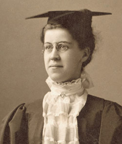 Katherine Wright covered in her graduation gown